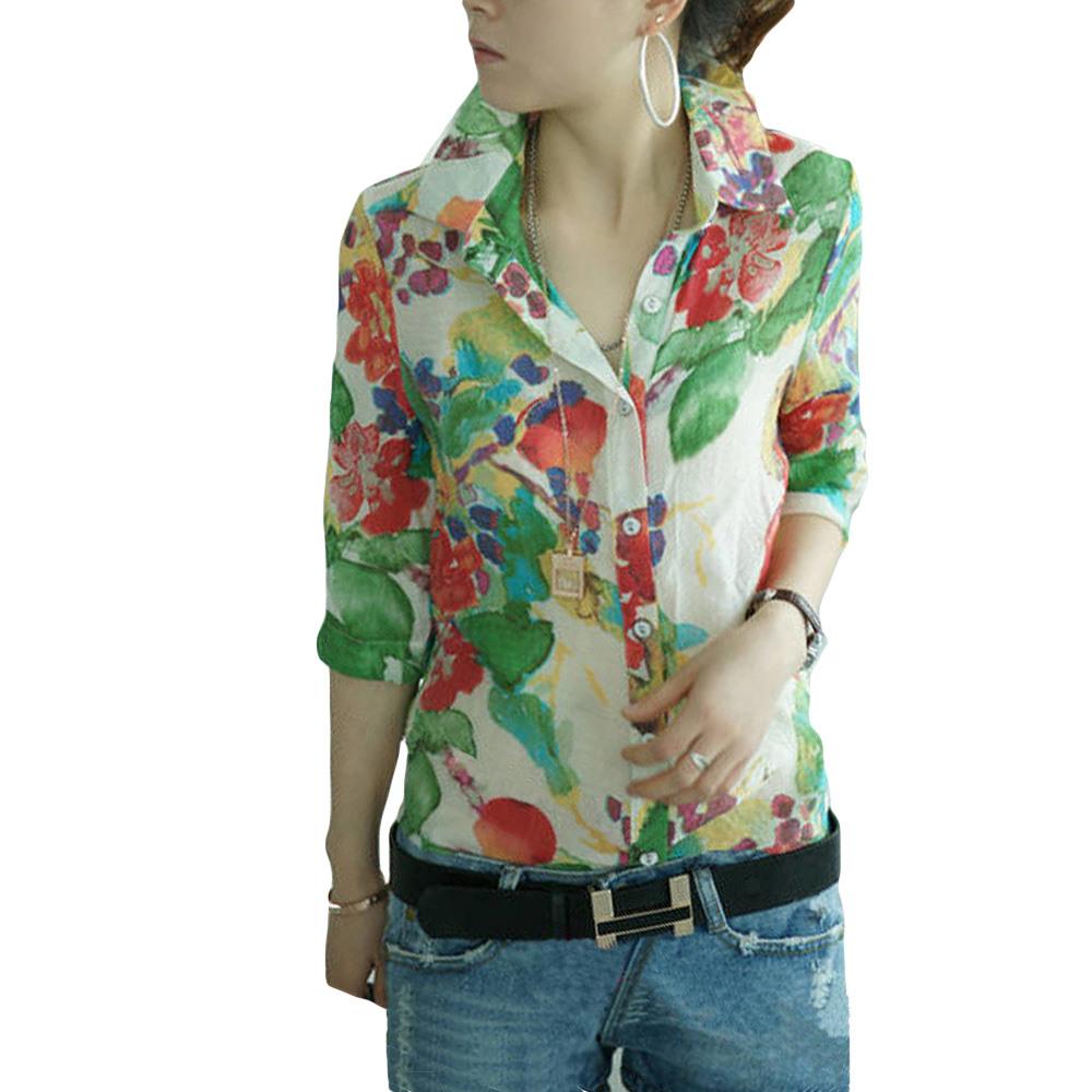 Женские блузки и Рубашки Brand New 2015 printed realleader м2 1005