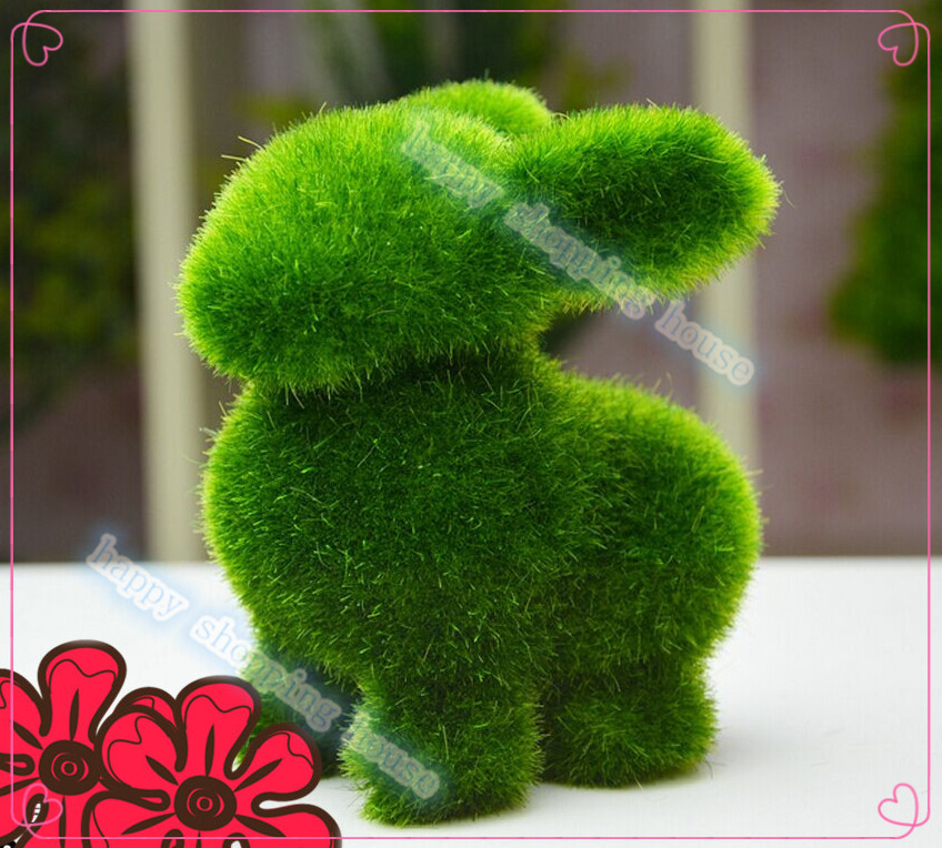 Creative gifts artificial moss stone animal stone animal home decoration rabbit(China (Mainland))