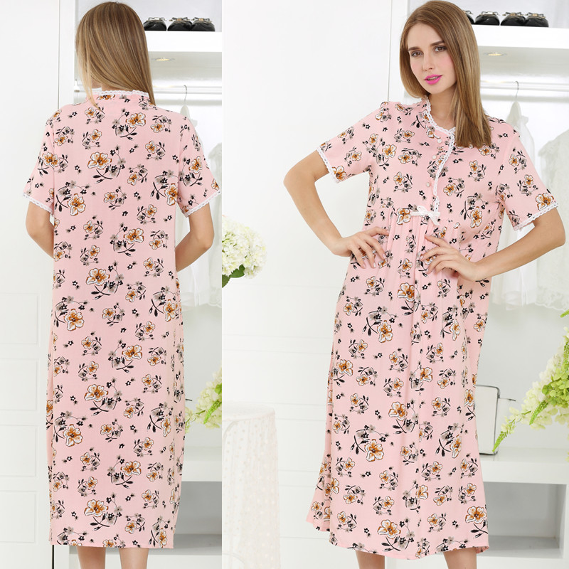 2016 spring fashion plus size long nightgown female 100 Long cotton sleep shirts