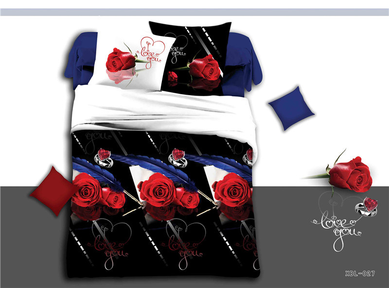 Black 3d bedding sets red roses fashion bedding set queen size 4pcs duvet cov - Dimension lit queen size ...
