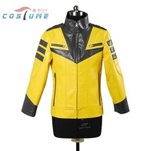 Space Battleship Yamato Black Tiger Squadron Uniform Yellow Long Sleeve Jacket Coat For Men Anime Halloween Costume Custom Made(China (Mainland))