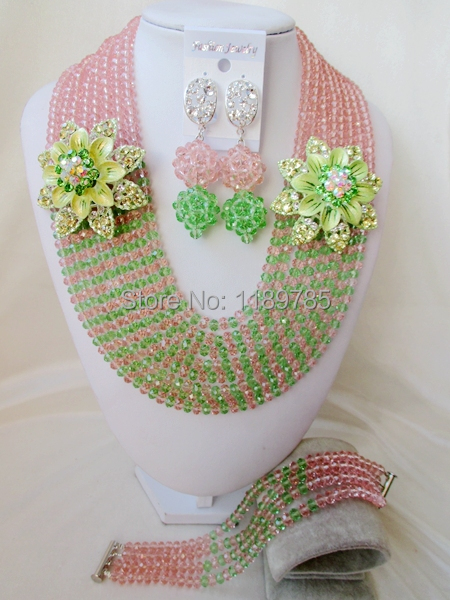Luxury African Nigerian Crystal Beads necklace Fashion Wedding Set perfect India Women Bridal  Jewelry Set Free Shipping B-13127<br><br>Aliexpress