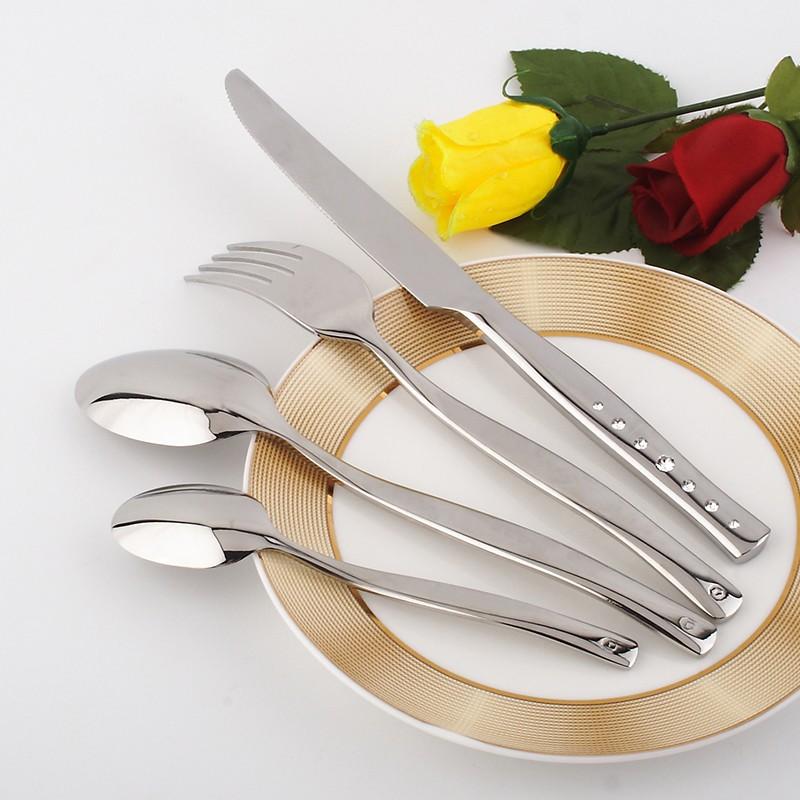 Buy 2016 Hot 4 Pcs/Lot  Western Food Stainless Flatware Set Tableware Sets Fork Steak Knife Spoon Fork Dinnerware Set cheap