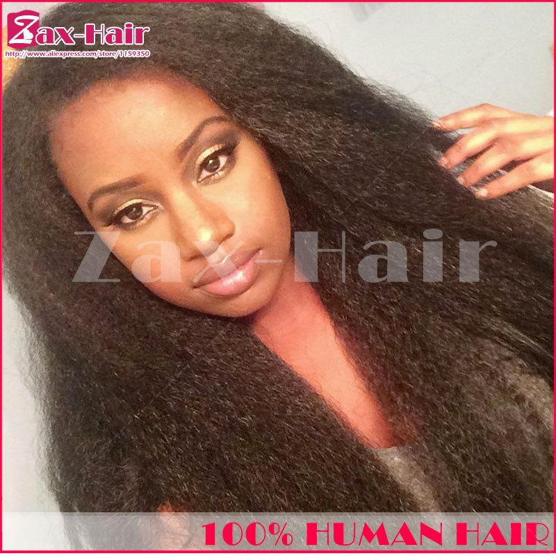 Virgin cheap glueless full lace wigs Brazilian virgin human hair yaki kinky straight lace front wig for black women 130% density(China (Mainland))