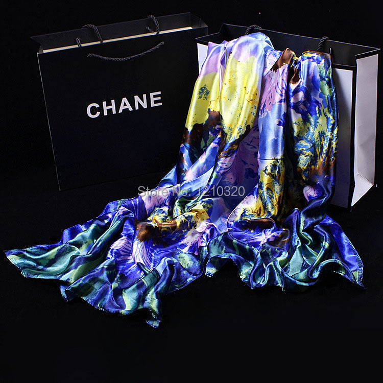2014 Fashion Style winter Women100% Satin Silk Embroidery Scraf 165*55CM Print Vintage shawls ladies Shawl Scarves Free Shipping(China (Mainland))