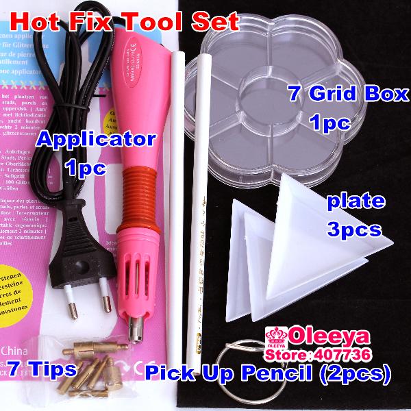 DIY TOOL SET 1pcs Hotfix Applicator 2pcs Pick Up Pencil 3 Plate 1 Box Fashion DIY Jewelry Strass Rhinestones Nail Art Trim Y2853(China (Mainland))