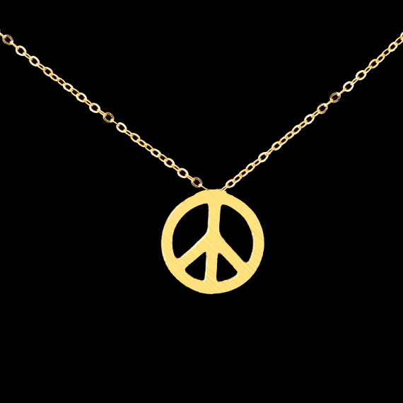 1-2016 Stainless Steel Choker Simple Boho Jewelry Gold Silver Collier Round Charm Body Chain Tiny Peace Sign Necklace - CC Helen store