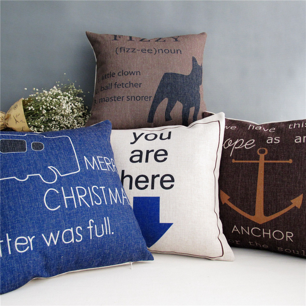 Home Decor 45 * 45cm Anchor Sailboat Cotton Linen Pillowcase Back Cushion Cover Throw Pillow Case Bed Sofa Car - ninety one store