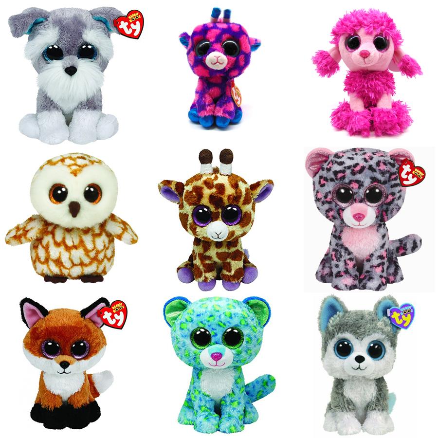 "TY Beanie Boos Original Teddies 15cm Plush Teddy Collectible Soft Toys Big Eyes Plush Toy Doll Husky Cat Owl Unicorn 6"" 15 cm"