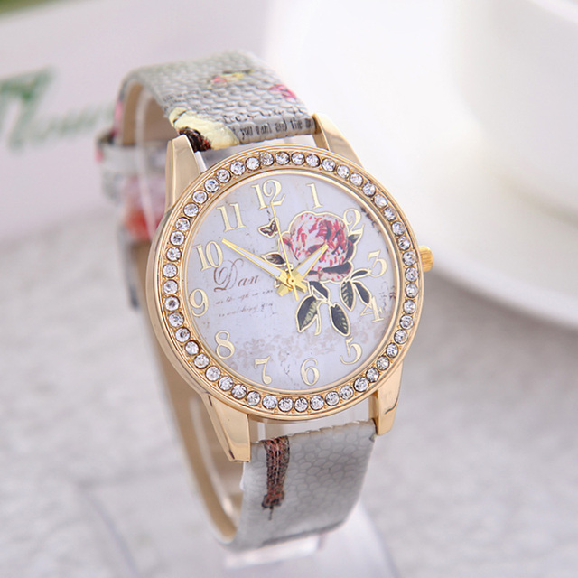 Zegarek damski kwiaty kryształki secesyjny motyw delikatny kolory