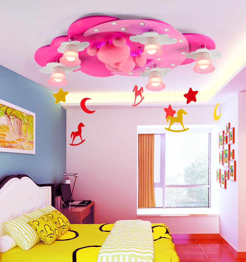 pink color kids room lighting boy cartoon warm girl