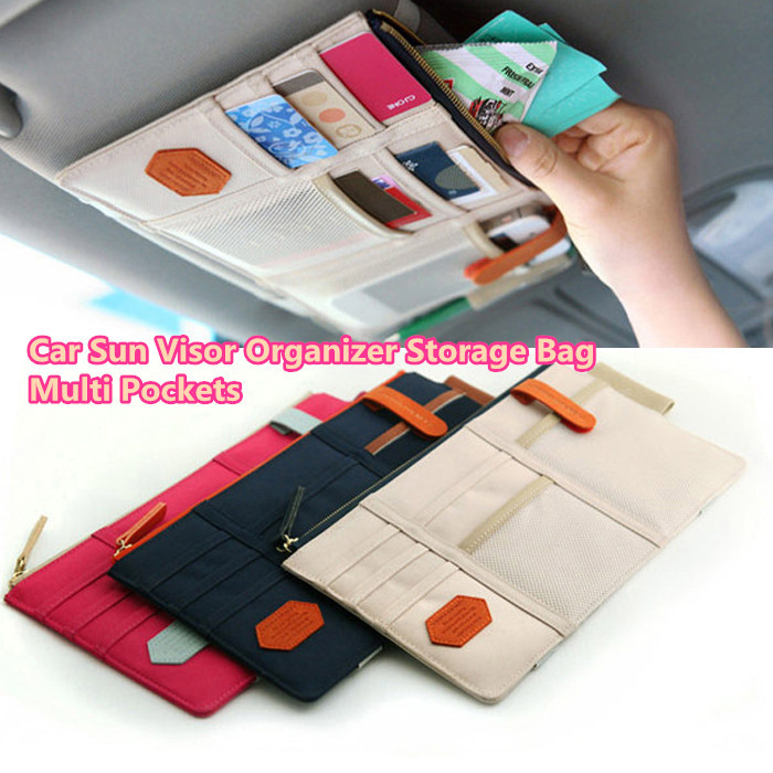 Гаджет  Auto Car Sun visor Point Multi Pocket Hang Storage Organizer Arrangement pouch Bag of Sunvisor for Card Phone Key pen  None Автомобили и Мотоциклы