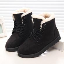 Frauen Stiefel Winter Warm Schnee Stiefel Frauen Faux Wildleder Ankle Stiefel Für Weibliche Winter Schuhe Botas Mujer Plüsch Schuhe Frau(China)
