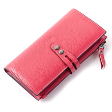 Factory outlet genuine leather ladies wallets Korean fashion women long wallet two-fold purse ,promotion gifts # 20161(China (Mainland))