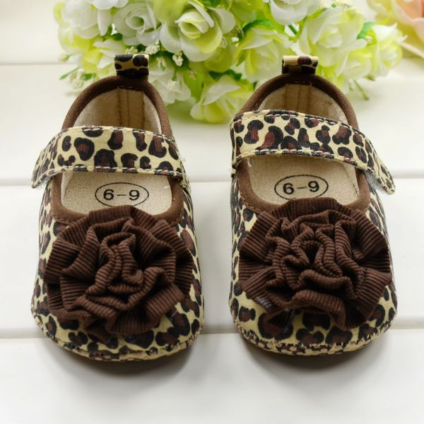 0-1Year Fashion Newborn Baby Crib Shoes Infant Brown Leopard Flower - Oasis ok store