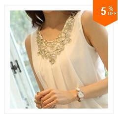 חדש 2014 אביב נשים החולצה נשים מזדמנים ללא שרוולים עם קפלים לבן שיפון חולצה בתוספת גודל S-XXL יהלום חולצות חולצות לנשים
