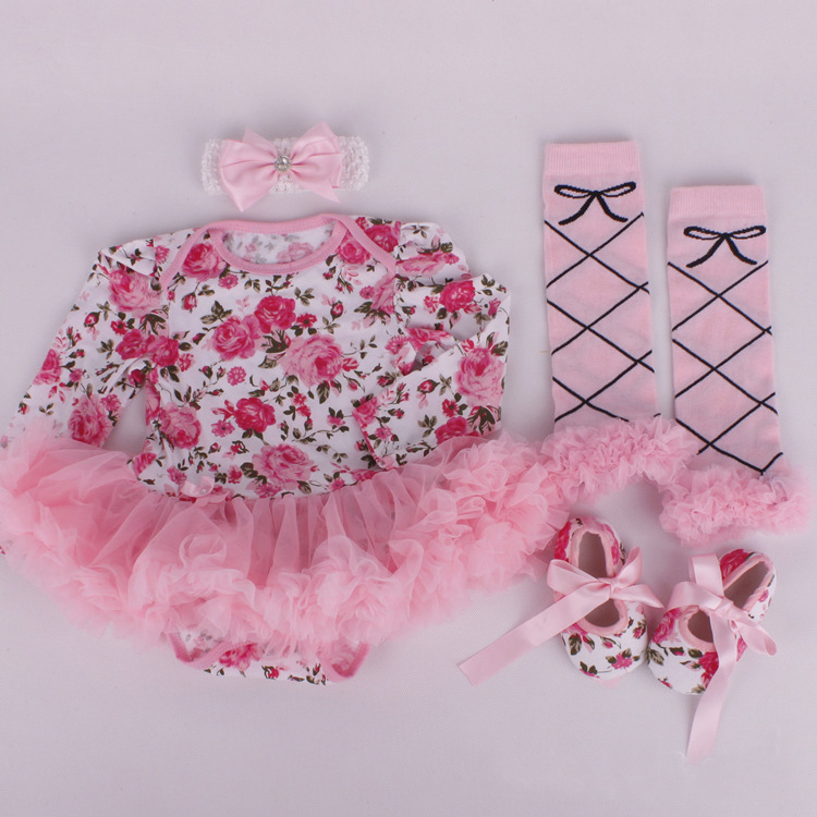 4PCS/0-12M/2015 Spring autumn newborn clothes cotton Striped Romper Headband shoes Tights band baby girls clothing set BC1312(China (Mainland))