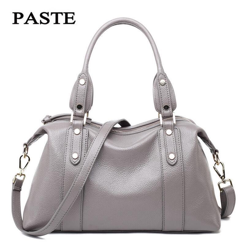 PASTE Brand 2016 New Fashion Rivets Soft Leather Handbags Women Messenger Bags Genuine Leather Shoulder Crossbody Tote Bag<br><br>Aliexpress