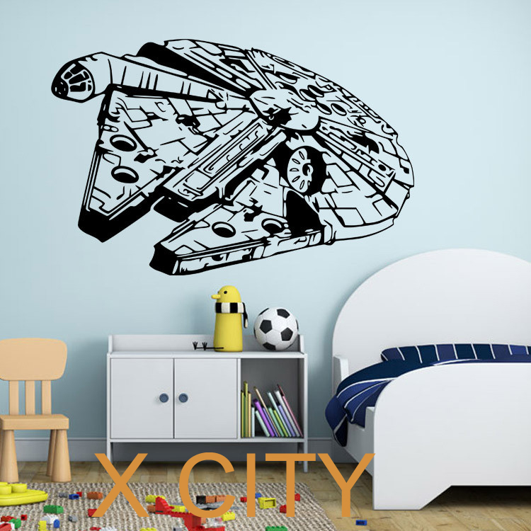 millenium falcon star wars vinyl wall art decal movie black poster sticker bedroom decor 2 sizes. Black Bedroom Furniture Sets. Home Design Ideas