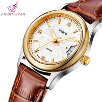 Fashion ladies watch brand WEIDE genuine leather straps watches calendar rose gold clock waterproof quartz analog watch