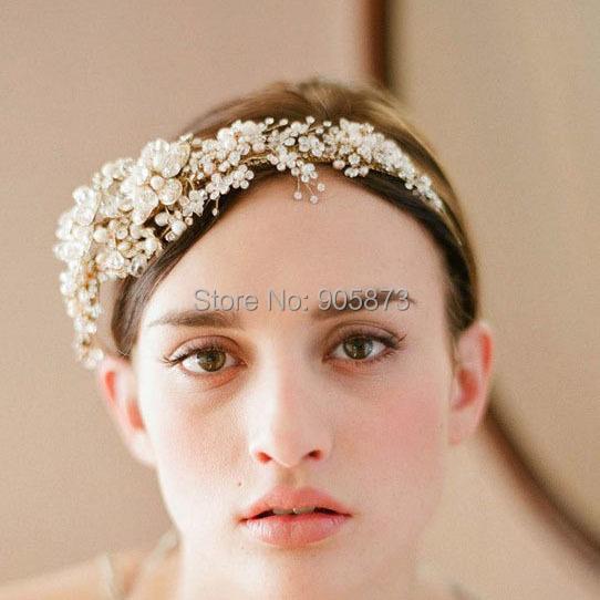 luxurious gold color crystal flower bridal hairbands tiara wedding hair jewelery SE1001 - Kay's Wedding store