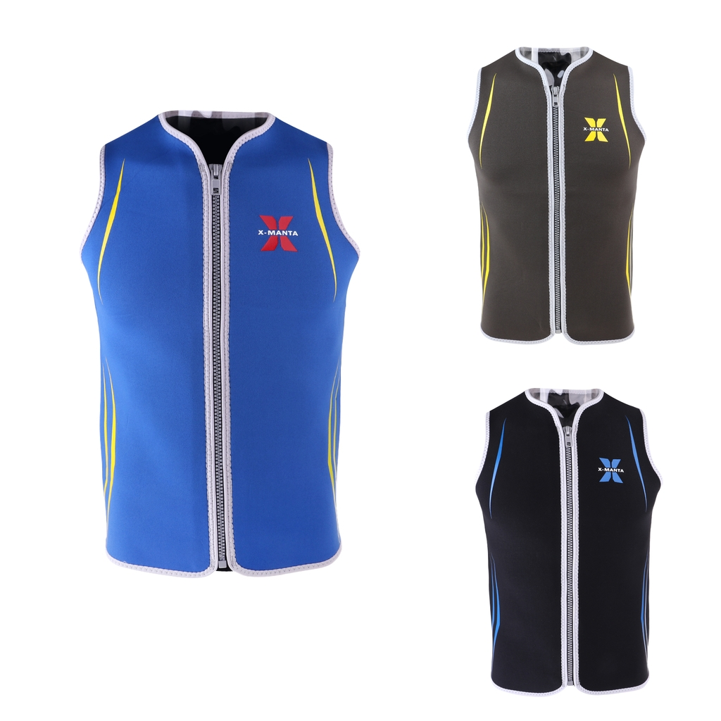 Premium 3mm Men's Wetsuits Neoprene Sleeveless Front Zipper Vest Jacket Top for Scuba Diving Surfing Swimming Snorkeling Suit