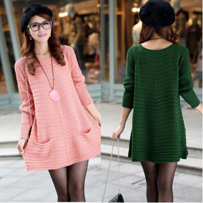 Свободное вязаное платье