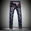 High Quality Mens Ripped Biker Jeans Hole Paint Blue Slim Fit Motorcycle Jeans Men Vintage Distressed