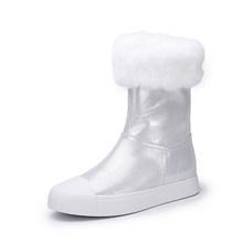VALLU Frauen Schnee Stiefel Aus Echtem Leder Mischfarbe Natürliche Pelz Mitte Kalb Frauen Warme Stiefel(China)