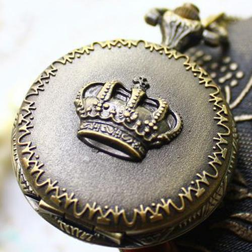 Crown watch Pocket watches Vintage Bronze Round Pendant Cartoon Alloy Female Chain Dress Watches Necklace GJ-ZH029 - Bottom Price(B & P store)