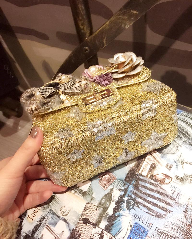 Hot Fashion Ladies Hand Bags Famous Designer Flowers Sequins Flap Chain Bag Mini High Quality Crossbody Bags For Women Handbags