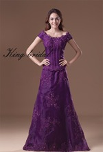Purple Scoop Appliques Organza A Line Evening Dress 2016 Capped Sleeves Beads Floor Length Formal Dress Women Ladies Prom Gowns(China (Mainland))
