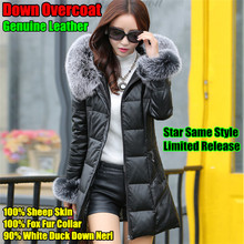 Star Same Style,Top-end Women Long Genuine Leather Down Overcoat,100% Sheep Skin,Fox Fur Collar,Duck Down Neri Hooded Outwear(China (Mainland))