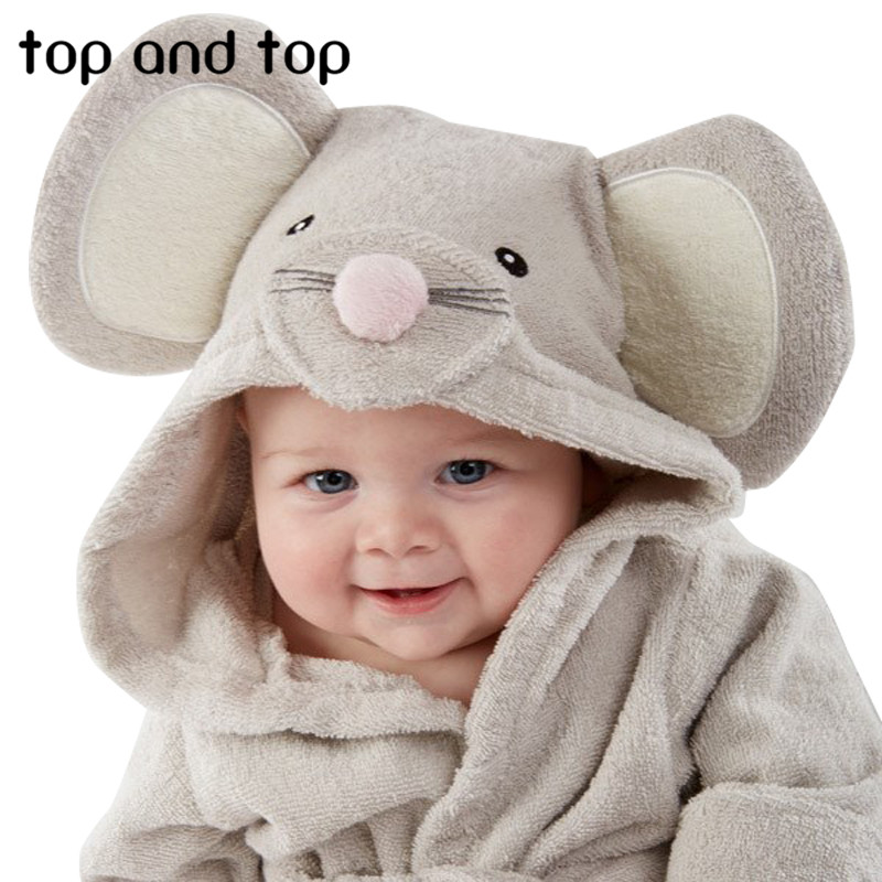 2017 new winter The little mouse children's bathrobe nightgown baby boys clothes long sleeve baby hooded bath towelfree shipping