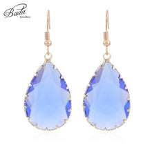 Badu Transparent Water Drop Crystal Dangle Earring 2018 Trendy Jewelry for Party Women Faceted Crystal Drop Earrings 7 Colors(China)