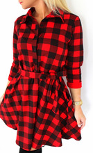 2016 Spring Summer Autumn Slim Sexy Red Black Tartan Shirt Plus Size Plaid Casual Belt Long Sleeve V Neck Women Checkered Dress