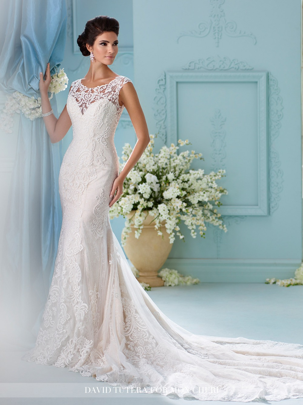 2016 lace mermaid wedding dresses all over lace applique for All lace wedding dress