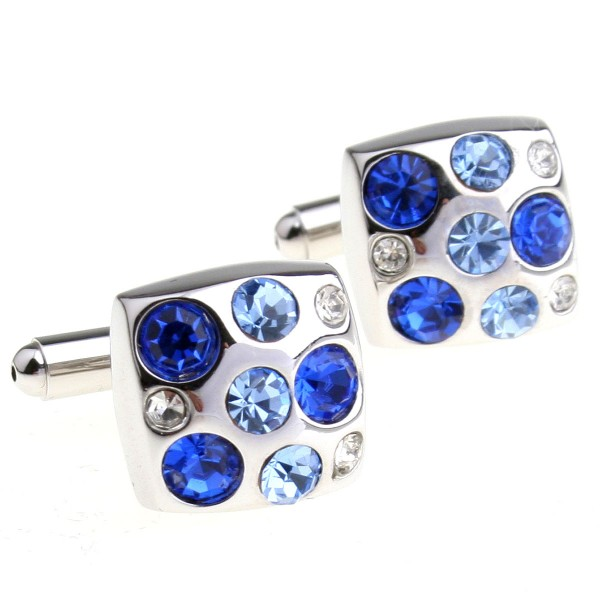 2017 New High Quality Cufflinks Two Color Combined Blue Crystal Cufflinks Agate Square Cuff Links For Mens Cufflink Shirts(China (Mainland))