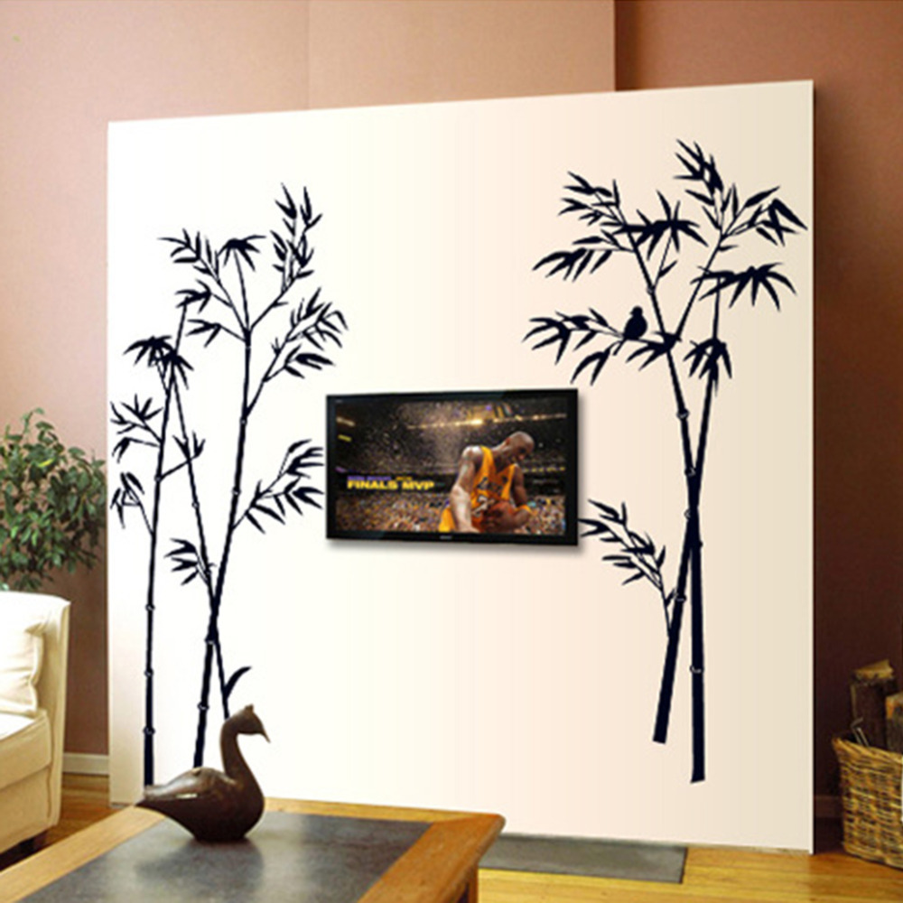 Diy art black bamboo quote wall stickers decal mural wall for Stickers para pared decorativos
