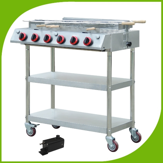 Super quality stainless steel gas burners bbq with wheel skewers roraty infrared barbecue grill with ratating skewers motor