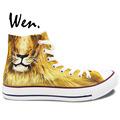 Wen Hand Painted Shoes Original Design Custom Animal Fierce Lion High Top Men Women s Canvas