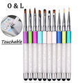 New 1pcs Pro Nail Art Brush Pen Screen Touchable Quartz Rhinestone Handle Carving Salon DIY Liner