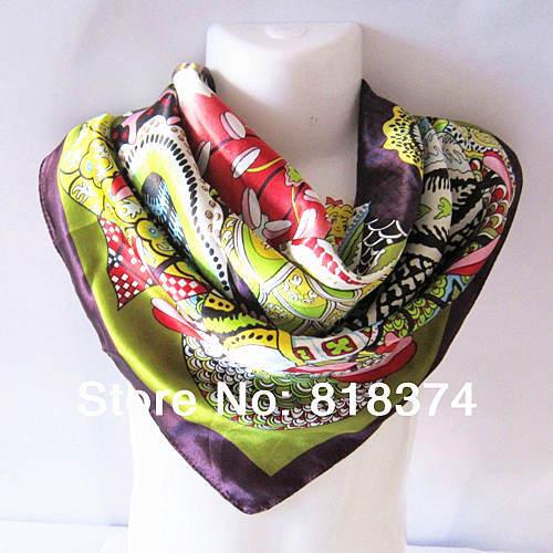 Dress Accessories Silk Satin Scarves Shawl Hijab Square Scarf Women Fashion 90*90cm C47 - yajun liu's store