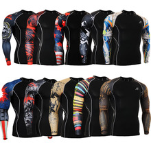 Fashion Sports Running Fix Gear Long Sleeves Prints Tight Skin Compression Shirts for Men MMA GYM Training Body Building Fitness