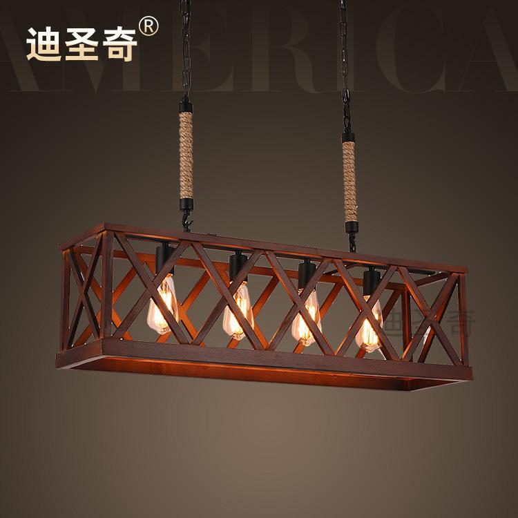 Modern vintage american wooden hemp rope rectangle pendant light<br><br>Aliexpress