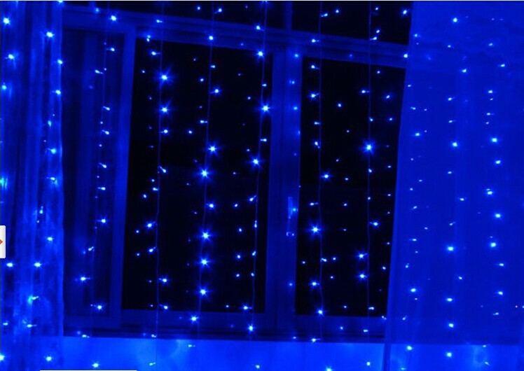 3M x 3M 300 LED Outdoor Party Christmas xmas String Fairy Wedding Curtain Lights Lighting 220~240V OR 110V Blue color<br><br>Aliexpress