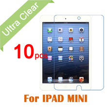 10pcs/lot Clear HD Glossy LCD Screen Protector For Apple iPad Mini 1 2 3 Tablet PC Transparent Protective Film + Cleaning cloth
