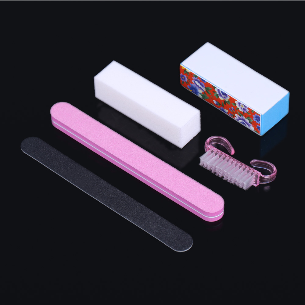 5Pcs Professional Manicure Tools Kit Rectangular Nail Files Brush Nail Art Accessories styling tools(China (Mainland))