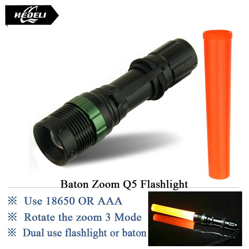 2016 new glow stick flashlight Portable zoom led flash light cree q5 torch waterproof lanterna linternas lamp hd303(China (Mainland))