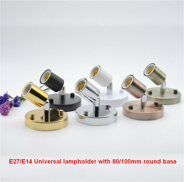 E14/E27 Ceramic Porcelain Screw Lamp Holders with 80/100mm round metal base and for Heat Bulb Light Lampholder(China (Mainland))